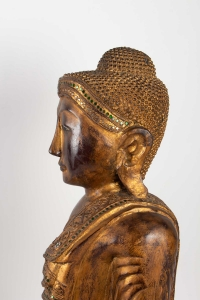 Buddha In Carved Wood Thailand, Middle Of The Twentieth Century
