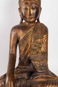 Bouddha En Bois Sculpté Thaïlande, Milieu Du XXème Siècle