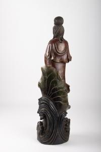 Guanyin En Bois Sculpté Et Polichromie, Chine, Début Du XXème Siècle, Art d'Asie