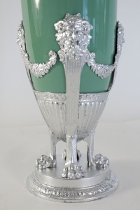 Celadon Vase in faience, with silver plate and silver leaf. 19th Century period Napoleon III.