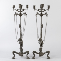 A Pair of 19th Century Patinated Bronze Renaissance St. Candelabras.