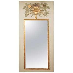 Grand Trumeau en partie du 18ème siècle en bois sculpté, doré et peint aux motifs de la richesse paysanne, miroir au mercure.