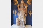 Sculpture en bois polychrome représentant Saint Nicolas