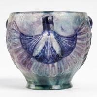 """Coupe """"Lotus"""" pâte de verre bleu, violet et turquoise de Gabriel ARGY-ROUSSEAU"""