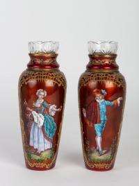 Paire de vases en émail élégants 19e siècle