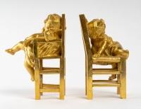 Paire de Petites statues en bronze doré fin XIXème siècle