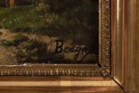 Huile sur panneau ,19eme siecle signée BERGA