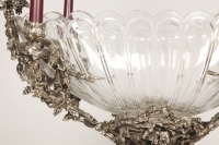 Centerpiece in silvered bronze XIXe and crystal attributed to Henri Picard.