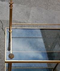 1970' Etagere A 4 Niveaux  En Bronze Maison Bagués Avec Frontispice