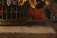 Bouquet de fleurs dans un panier. Fin XVIII ème