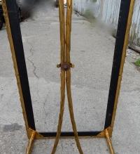1950/70' Table Basse en Bronze Doré Décor Palmier Maison Charles 112 X 48 cm
