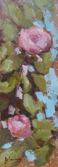 """Tableau """"La Dame aux Camélias 6/7"""" - Huile sur toile 35x13 cm"""