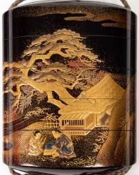 inro à 4 cases en laque d'or - Kajikawa