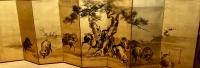Paravent à 8 panneaux en sumi-e sur fond or par Kô Sukoku