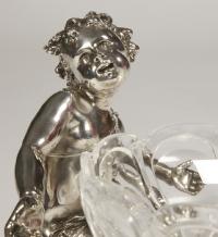 Coupe en bronze argenté et cristal par C. CHRISTOFLE