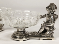 Silvered bronze cup and cristal by C. CHRISTOFLE