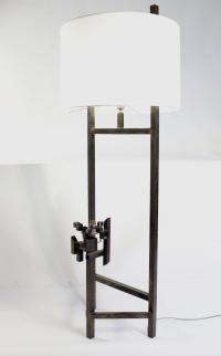 Lampadaire moderniste, acier,  améthyste, 1980