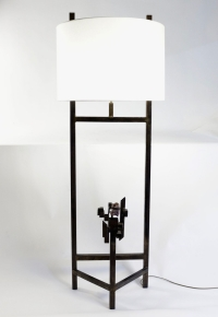Modernist Floor Lamp, Steel, Amethyst, 1980