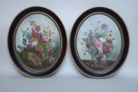 Paire d'huiles sur toiles, natures mortes avec bouquets de fleurs, 2nde motié du XIXème siècle