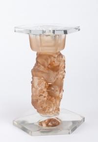 Paire de Bougeoirs « Mésanges » verre blanc patiné sépia de René LALIQUE