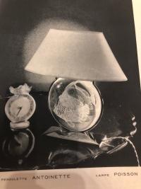 """René LALIQUE  : Lampe  """" Poisson """""""
