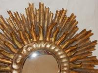 1950′ Miroir Soleil Convexe 2 Étages Bois Doré Et Argenté 63 Cm De Diamètre