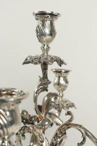 Paire de candélabres en bronze  argenté fin XIX ème