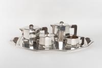 Service à thé et à café à pans coupés en argent 1er Titre et macassar de DÉMARQUER FRÈRES