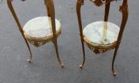 1970′ Paire de Sellettes en Bronze Doré Style LXV Plateaux Onyx