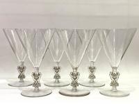 """Suite de Six 6 Verres à Eau """"Strasbourg"""" verre blanc patiné gris de René LALIQUE 15.5cm"""