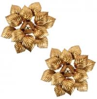 """Paire d'Appliques """"Feuillage"""" des années 1960 de la Maison ForArt en métal doré"""