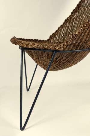 Paire de fauteuils rotin attribuées a Mathieu Mategot 1950