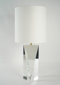 1970s Prism Shaped Plexiglas Lamp