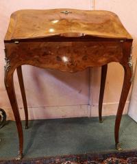 Bureau de pente marqueté style Louis XV fin du 19e siècle