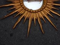 1950/70 ' Miroir Soleil Convexe,Bois Doré Diametre 122 cm