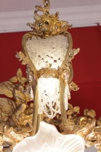 Lustre shell Napoléon III vers 1860