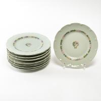 """Suite de 11 Assiettes """"Nicole"""" porcelaine celadon de HAVILAND d'après un dessin de Suzanne LALIQUE"""