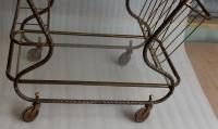 1950′ Bar Roulant en Bronze et Laiton Doré Maison Baguès Décor Art Nouveau
