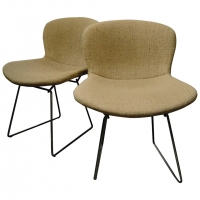 4 Chaises Tissu Beige/ Chairs with Tissue, Harry Bertoïa, Knoll, 1950-1959