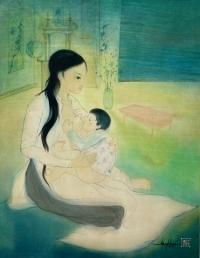 Peinture Vietnamienne Sur Soie d'Une Mère Allaitant Son Enfant, Signée Et Datée 1965