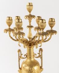 A Pair of 19th Century Louis XVI St. Ormulu and Marble Candelabras.