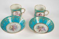 Paire grandes tasses Louis XIV et Louis XV