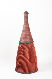 Bouteille strie par Emmanuel Peccatte ( 1974 - 2015 ) - céramique contemporaine