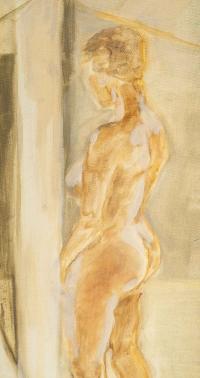 Femme Nue se Regardant dans un Miroir, peinture sur isorel, XXème siècle.