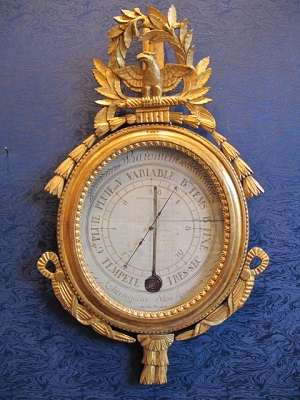 A Louis XVI period (1774 - 1793) barometer-thermometer.