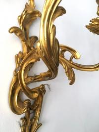 Superbe paire d'appliques en bronze doré de style Louis XV, fin du XIXe siècle