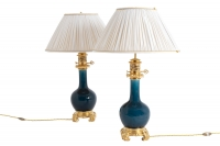 Théodore Deck, Paire de lampes en porcelaine bleue, vers 1880