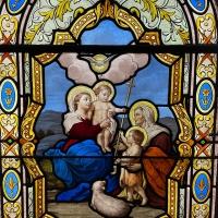 Vitrail Vierge à l'enfant Jésus et Saint Jean-Baptiste Atelier LORIN