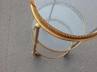 1950/70′ Desserte Roulante Ronde En Bronze Doré à 3 Plateaux