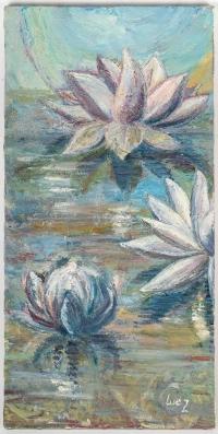 Nénuphars sur l'Eau, huile sur toile, XX siècle.
